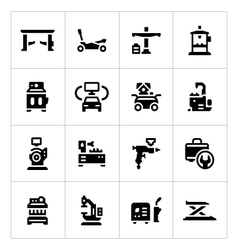 Set icons of car service equipment vector