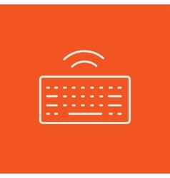 Wireless keyboard line icon vector