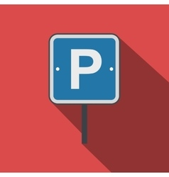 Parking traffic sign flat icon vector