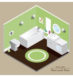 Bathroom 3d interior green background vector