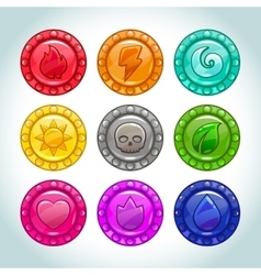 Colorful medallions with nature elements icons vector