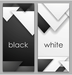 Black and white geometric tech banners vector