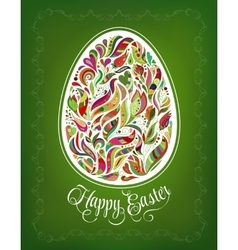 Happy easter card doodle ornate colorful floral vector