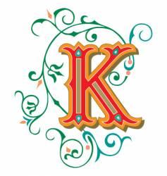 floral letter k vector image