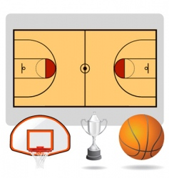 basketball field ball vector image vector image