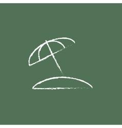 Beach umbrella icon drawn in chalk vector image vector image