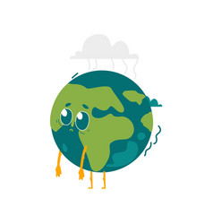 Cartoon flat globe sad character isolated vector