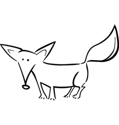 cartoon of fox for coloring vector image vector image
