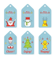Christmas characters line design tag and label vector