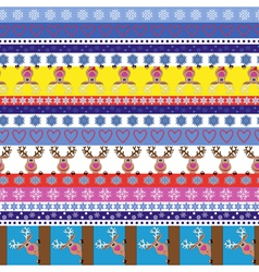 Christmas striped seamless pattern with reindeer vector