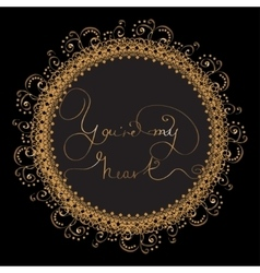 Circle card with golden lettering vector