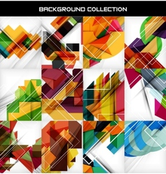 Collection of geometric shape abstract backgrounds vector image