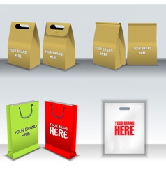 Digital recycle brown paper bags mockup vector