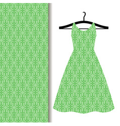 dress fabric with green geometric pattern vector image