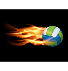 Flaming volleyball vector