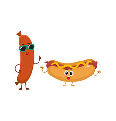 funny smiling sausage and hotdog characters fast vector image vector image