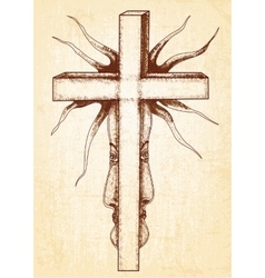 Gothic abstraction with cross on canvas background vector