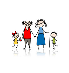 grandparents with grandchildren sketch for your vector image