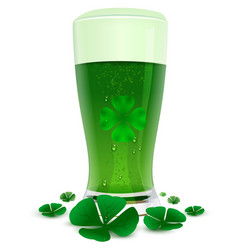 green drink ale in high transparent glass green vector image vector image