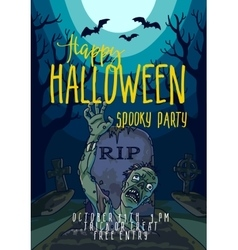 Halloween with spooky zombie vector image
