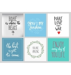 Lettering postcard quotes set vector image vector image