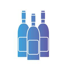Line wine bottles to celebretion beverage vector
