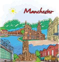 manchester doodles vector image