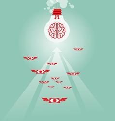 Money flying to light bulb vector