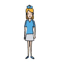 Nurse female staff with uniform hat medical vector