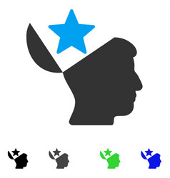 Open head star flat icon vector