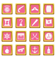pirate icons pink vector image
