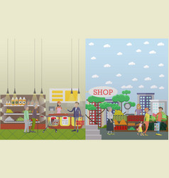 purchase of groceries in flat vector image vector image