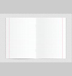 Realistic blank lined copy book spread vector