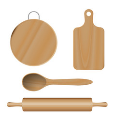 Set from wooden kitchen devices cutting vector
