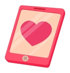 Smartphone with heart icon cartoon style vector image