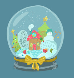 Snow globe with snowman and house with christmas vector
