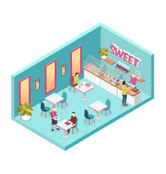 sweet shop inside isometric vector image vector image