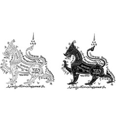 Thai traditional painting tattoo vector