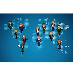 World map business work group people vector image vector image