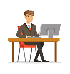 Young businessman working on his computer vector