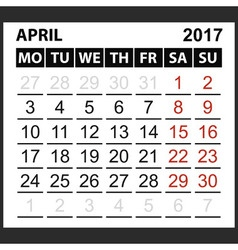 Calendar sheet april 2017 vector