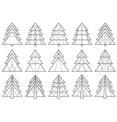 Origami christmas tree silhouettes vector