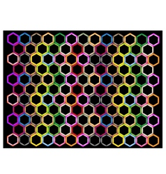 Multi Colors of Hexagon on Black Background vector image