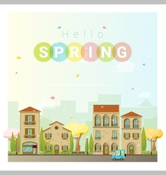 Hello spring cityscape background 2 vector image