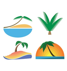 Palm-tree icons Tropic symbols vector image