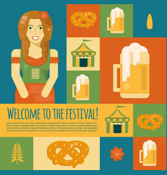Oktoberfest icons and symbols in flat style vector