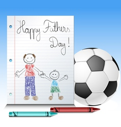 Fathers day kid drawing with ball and crayons vector