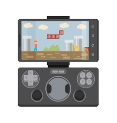 Modern smartphone connected with gamepad isolated vector