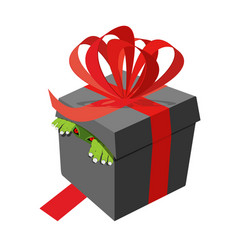 Black gift box monster peeking ribbons and bows vector