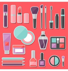 Set of colored cosmetics sticker icons vector